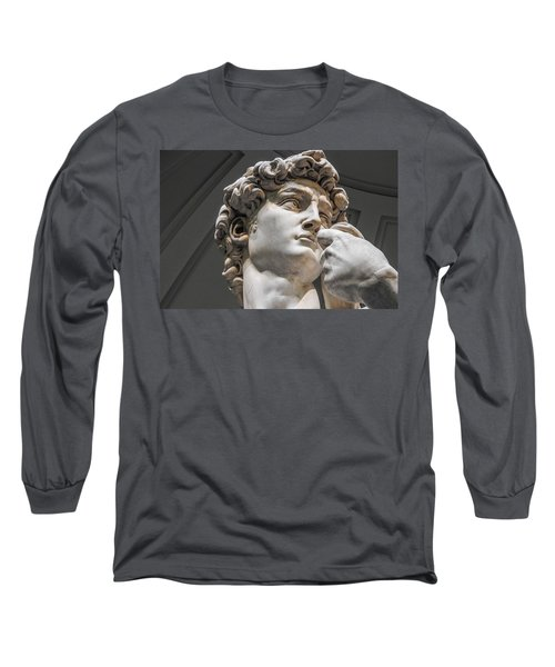Close Up Of David By Michelangelo Long Sleeve T-Shirt