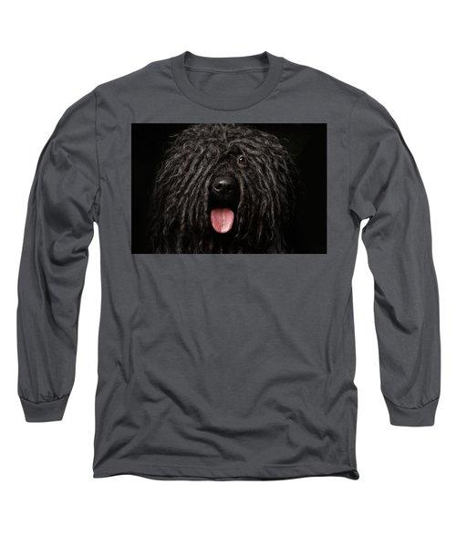 Close Up Portrait Of Puli Dog Isolated On Black Long Sleeve T-Shirt by Sergey Taran