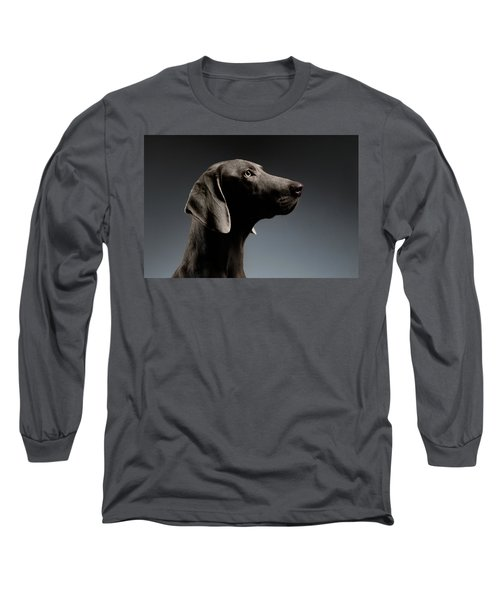 Close-up Portrait Weimaraner Dog In Profile View On White Gradient Long Sleeve T-Shirt