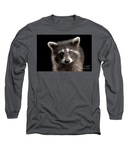 Closeup Portrait Cute Baby Raccoon Isolated On Black Background Long Sleeve T-Shirt by Sergey Taran