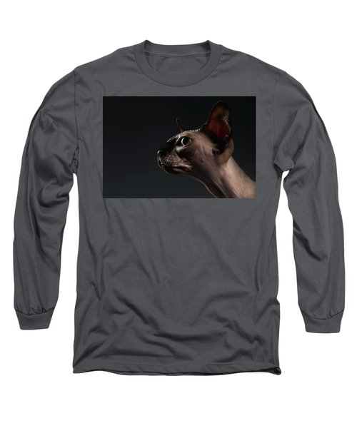 Closeup Portrait Of Sphynx Cat In Profile View On Black  Long Sleeve T-Shirt