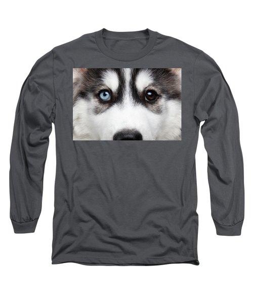 Closeup Siberian Husky Puppy Different Eyes Long Sleeve T-Shirt