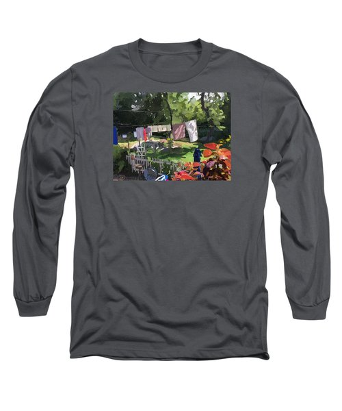 Clothesline And Coleus In An East Gloucester  Ma Garden  Long Sleeve T-Shirt