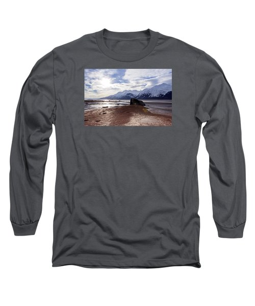 Long Sleeve T-Shirt featuring the photograph Cloud Shadows At Low Tide. by Michele Cornelius