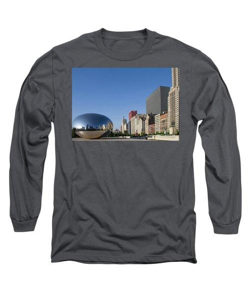 Cloudgate Reflects Michigan Avenue  Long Sleeve T-Shirt