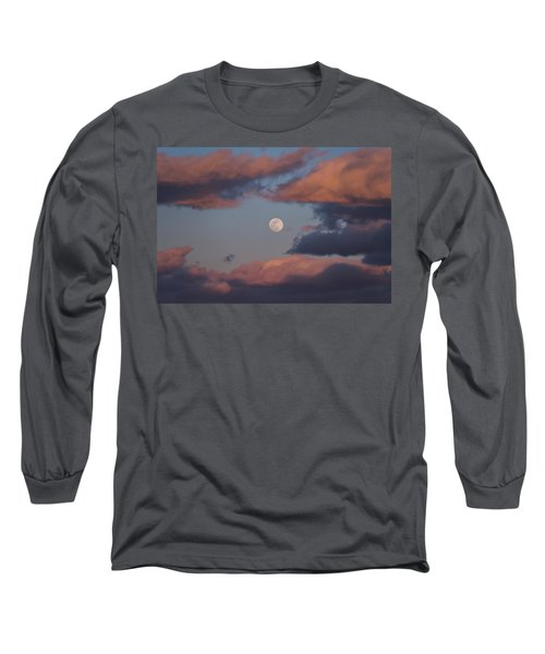 Long Sleeve T-Shirt featuring the photograph Clouds And Moon March 2017 by Terry DeLuco