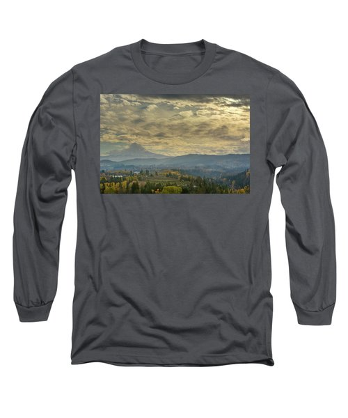 Clouds And Sun Rays Over Mount Hood And Hood River Oregon Long Sleeve T-Shirt