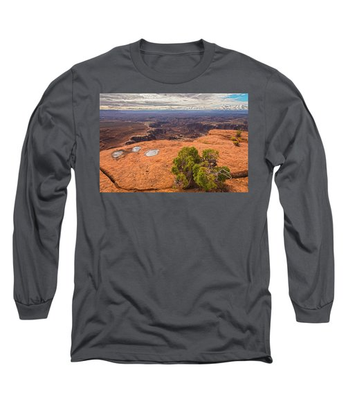 Clouds Junipers And Potholes Long Sleeve T-Shirt by Angelo Marcialis