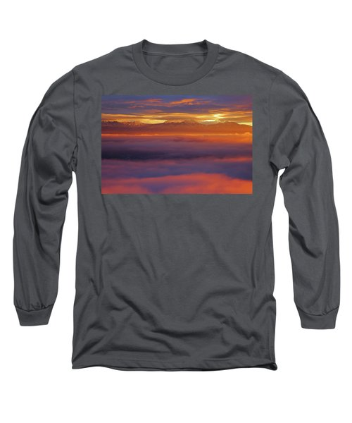 Clouds Of Fire Surround The La Sal Mountains From Dead Horse Point State Park Long Sleeve T-Shirt