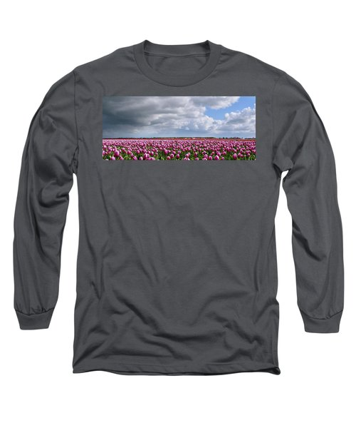 Clouds Over Purple Tulips Long Sleeve T-Shirt