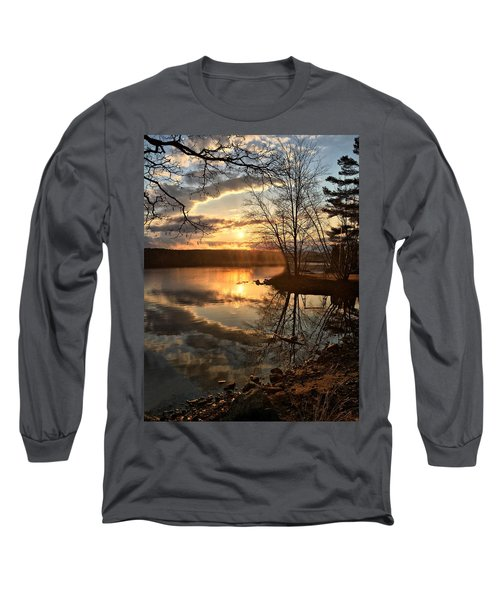 Clouds, Reflection And Sunset  Long Sleeve T-Shirt by Betty Pauwels