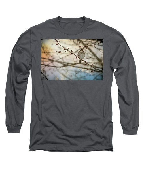 Long Sleeve T-Shirt featuring the photograph Cloudy Finch by Trish Tritz