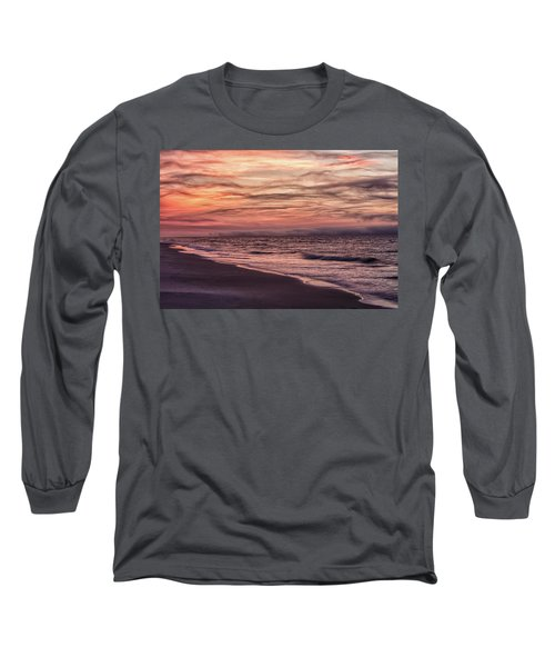 Long Sleeve T-Shirt featuring the photograph Cloudy Sunrise At The Beach by John McGraw