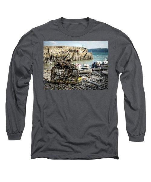 Long Sleeve T-Shirt featuring the photograph Clovelly Crab Trap by Nick Bywater