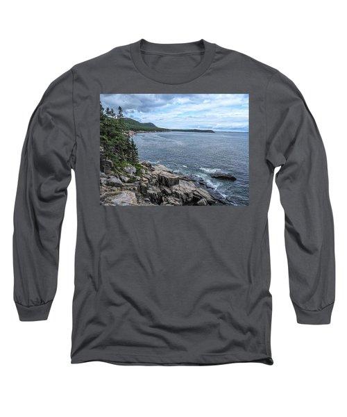 Coastal Landscape From Ocean Path Trail, Acadia National Park Long Sleeve T-Shirt