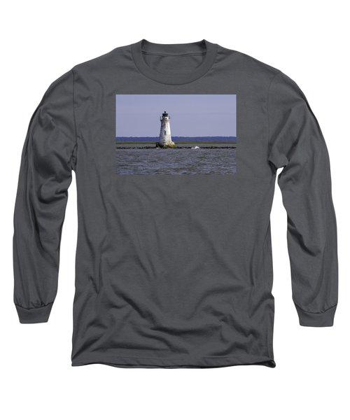 Cockspur Lighthouse Long Sleeve T-Shirt by Elizabeth Eldridge