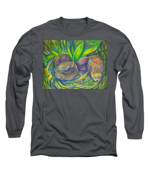 Long Sleeve T-Shirt featuring the painting Coconuts by Anna  Duyunova