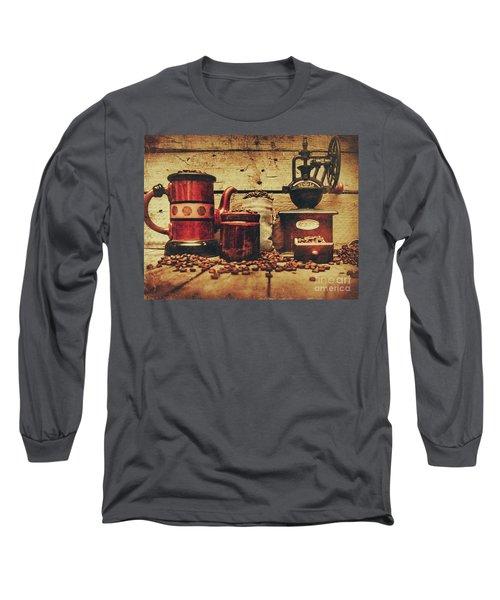 Coffee Bean Grinder Beside Old Pot Long Sleeve T-Shirt