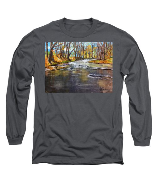 Long Sleeve T-Shirt featuring the painting Cold Day At The Creek by Annamarie Sidella-Felts