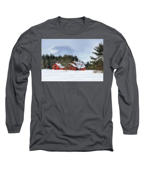 Long Sleeve T-Shirt featuring the digital art Cold Winter Days In Vermont by Sharon Batdorf