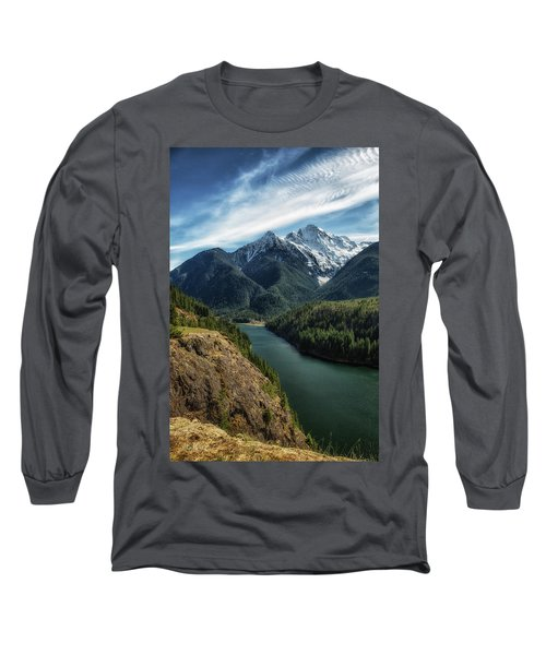 Colonial Peak Towers Over Diablo Lake Long Sleeve T-Shirt by Charlie Duncan