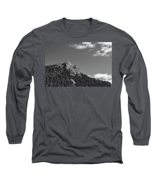 Long Sleeve T-Shirt featuring the photograph Colorado Buffalo Rock With Waxing Crescent Moon In Bw by James BO Insogna