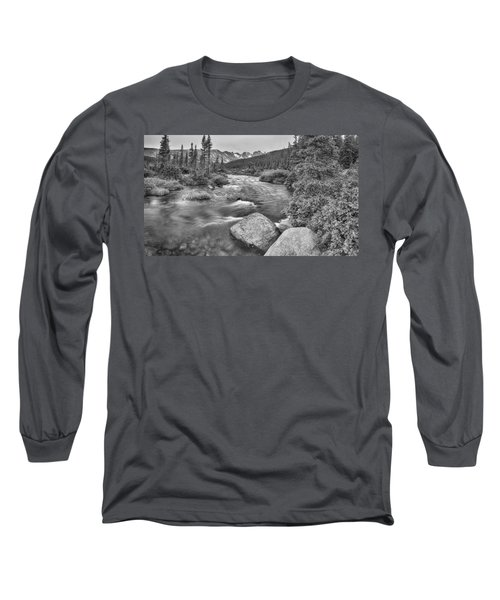 Colorado Indian Peaks Wilderness Panorama Bw Long Sleeve T-Shirt