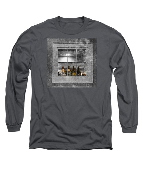 Long Sleeve T-Shirt featuring the photograph Colored Bottles In Window by Tom Singleton