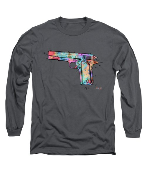 Colorful 1911 Colt 45 Browning Firearm Patent Minimal Long Sleeve T-Shirt