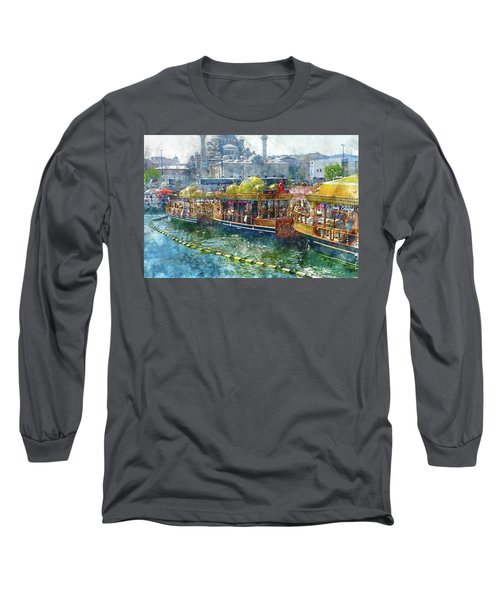Colorful Boats In Istanbul Turkey Long Sleeve T-Shirt