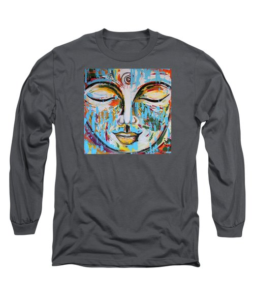 Colorful Buddha Long Sleeve T-Shirt by Theresa Marie Johnson