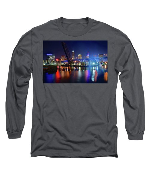 Long Sleeve T-Shirt featuring the photograph Colorful Cleveland Lights Shimmer Bright by Frozen in Time Fine Art Photography