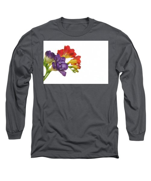 Colorful Freesias Long Sleeve T-Shirt by Elvira Ladocki