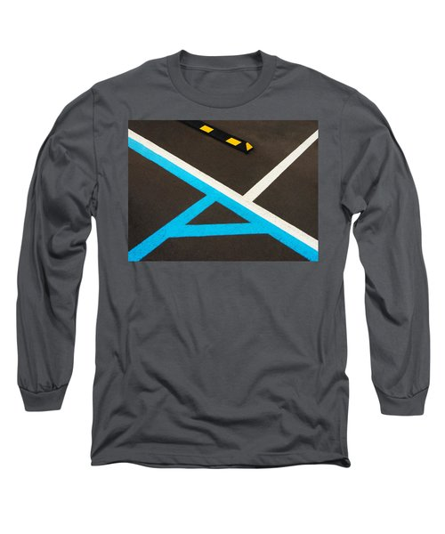 Colorful Geometry In The Parking Lot Long Sleeve T-Shirt by Gary Slawsky