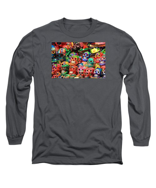 Colorful Mexican Day Of The Dean Ceramic Skulls Long Sleeve T-Shirt by Roupen  Baker