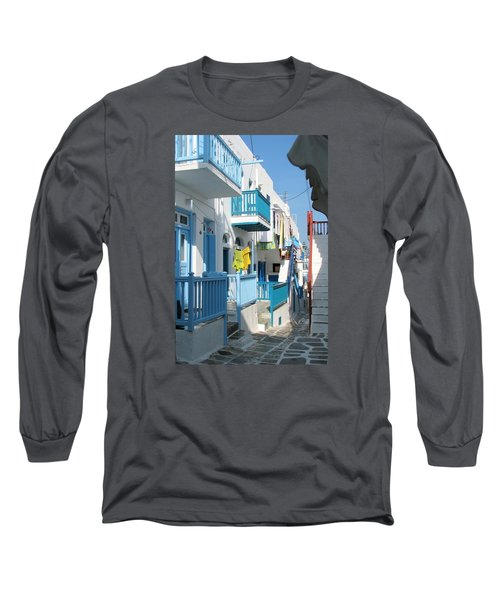 Colorful Mykonos Long Sleeve T-Shirt by Carla Parris