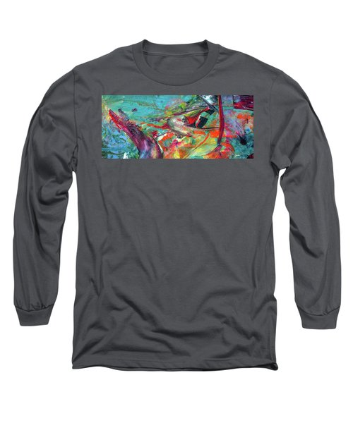 Colorful Puffin Bird Art - Happy Abstract Animal Birds Painting Long Sleeve T-Shirt