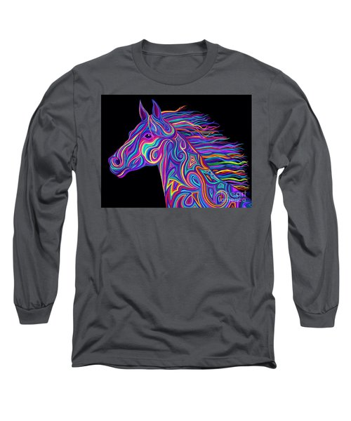 Long Sleeve T-Shirt featuring the drawing Colorful Rainbow Stallion  by Nick Gustafson