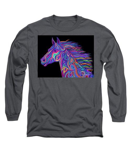 Colorful Rainbow Stallion  Long Sleeve T-Shirt