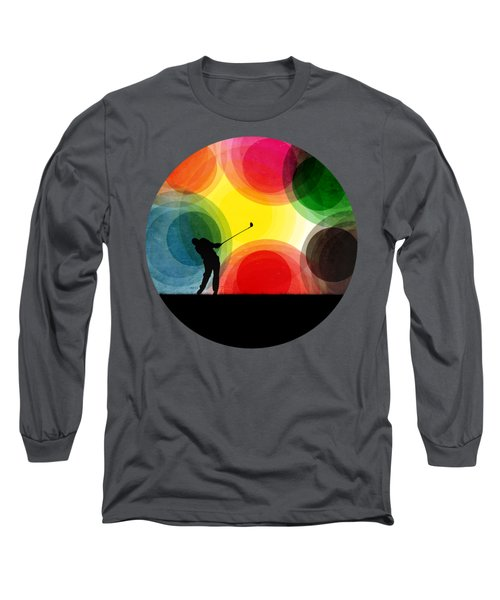 Colorful Retro Silhouette Golfer Long Sleeve T-Shirt