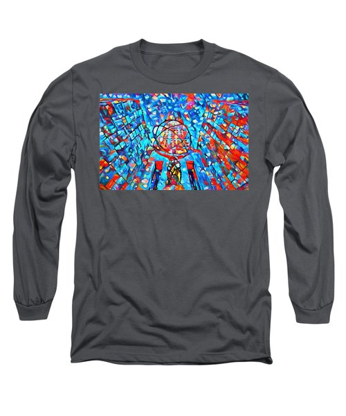 Long Sleeve T-Shirt featuring the painting Colorful Rockefeller Center Atlas by Dan Sproul