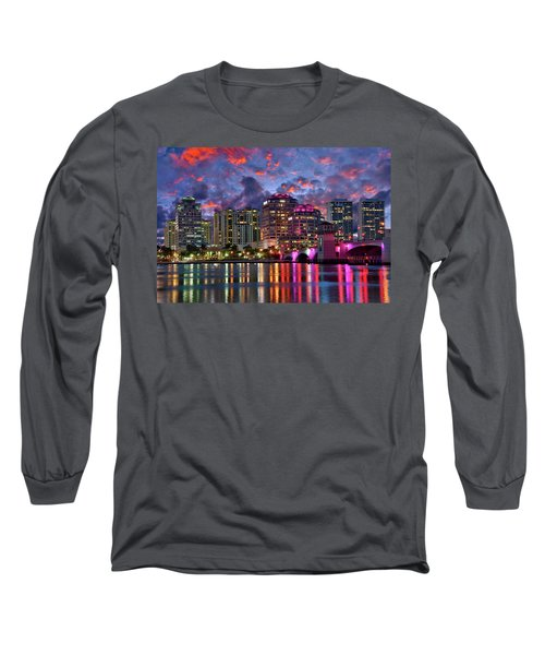 Colorful Sunset Over Downtown West Palm Beach Florida Long Sleeve T-Shirt