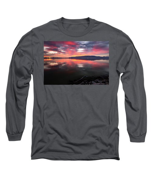 Colorful Utah Lake Sunset Long Sleeve T-Shirt