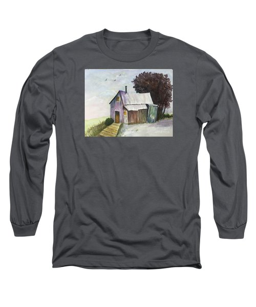 Long Sleeve T-Shirt featuring the painting Colorful Weathered Barn by Lucia Grilletto