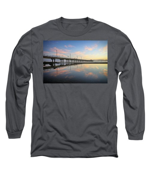 Colourful Cloud Reflections At The Pier Long Sleeve T-Shirt