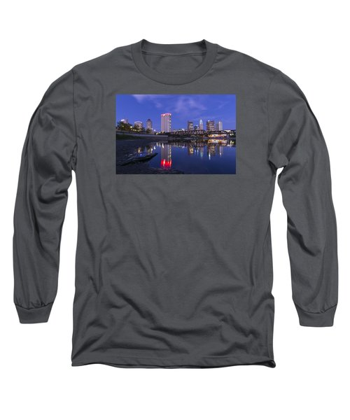 Columbus Evening On Water Long Sleeve T-Shirt by Alan Raasch