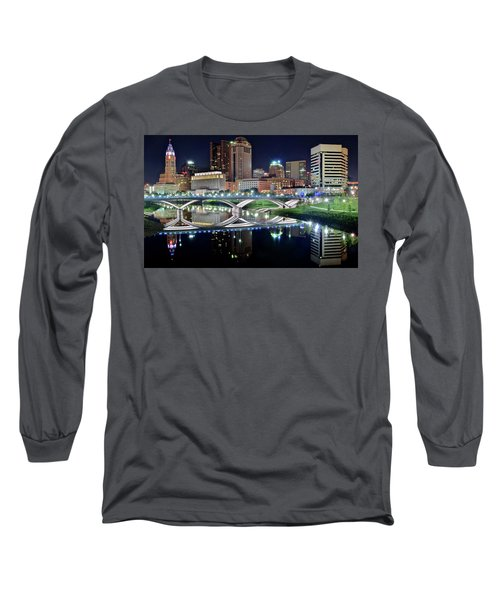 Columbus Over The Scioto Long Sleeve T-Shirt by Frozen in Time Fine Art Photography