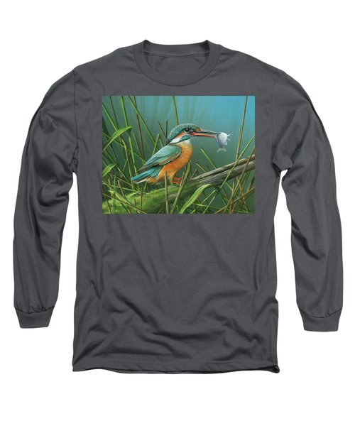 Long Sleeve T-Shirt featuring the painting Common Kingfisher by Mike Brown