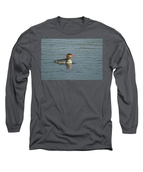 Common Merganser 9814 Long Sleeve T-Shirt by Michael Peychich