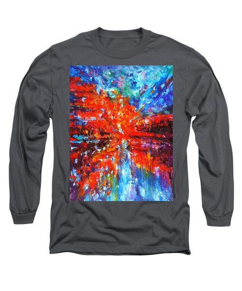 Composition # 2. Series Abstract Sunsets Long Sleeve T-Shirt by Helen Kagan